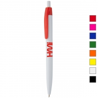 Plastic Pen 999 ( White plastic promotional gift pen in NRW, in GERMANY) - hmi20999