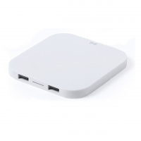 Wireless Charger 235 (White plastic wireless charger with 2 USB ports) -  hmi26235