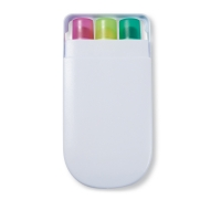 Promotional highlighter set with white nice cover - hmi29111
