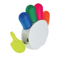 Hand shape plastic text marker with 5 colors highlighters - hmi29142