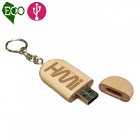 USB Flash 013 (Wooden USB flash drive with keychain) - hmiUSB013