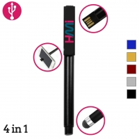 USB Metal Pen 61 (USB, Pen, Mobile Stand and screen cleaner) - hmiUSB61