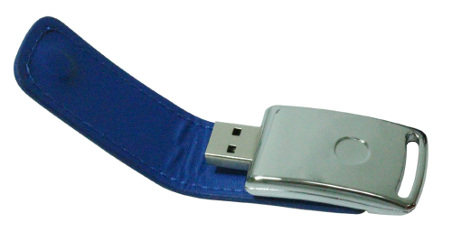 Stylish Leather USB Flash 8GB Blue