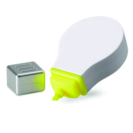 Plastic text marker with light design and yellow color - hmi29171-02 (White)